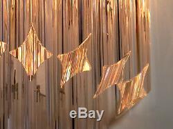 Pair of vintage Murano wall sconce 32 quadriedri trasparent prism