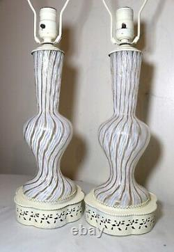 Pair vintage Italian Murano hand blown gold flake art glass electric table lamps