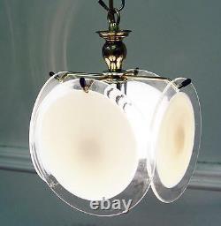Pendant Lighting, 7 x8 Vintage Italy, White MURANO Glass Chandelier Gold Frame