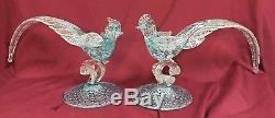 Pr. Vintage Murano Glass Blue/Silver Flecked Pheasants