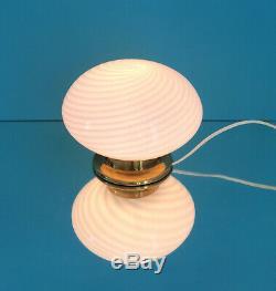 Pretty mushroom table lamp swirl Murano glass lampada vintage 70 U