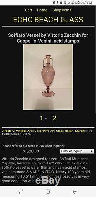 Published Vintage Murano Venini Zecchin Glass Green Soffiati Vases