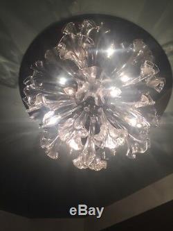 RARE 24 Vintage Murano Glass Chrome Flower Flush Mount Sputnik Chandelier XL