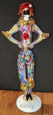 RARE Large Vintage Venetian Murano Art Glass Harlequin Jester Clown Figurine