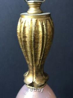 RARE! Vintage Gold ITALY Lamp ROSES Balboa MURANO PINK GLASS ITALIAN Antique