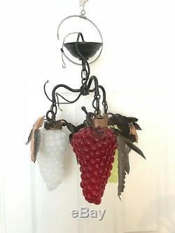 Rare 3 Arm Vintage Murano Glass Grape Cluster Chandelier