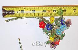 Rare ANTIQUE/VTG LOT HANDMADE GLASS MINI FLOWER BOUQUETS Murano Italy