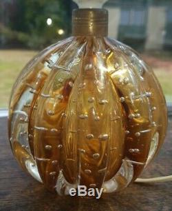 Rare Clear / Amber Vintage Murano Archimede Seguso Bullicante Bubble Glass Lamp