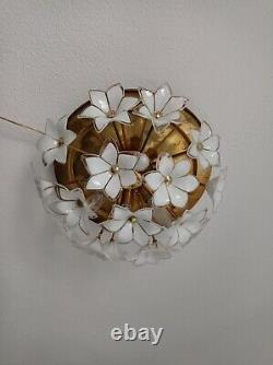 Rare Flush Mount Vintage Murano White Glass Chandelier Ceiling Fixture Lighting
