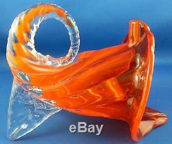 Rare MURANO Italy 1950s ART GLASS Handcrafted CORNUCOPIA Vase VG Vintage