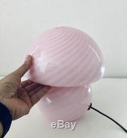 Rare Pink Swirl Murano Verti Venini Glass Mushroom Lamp Vintage Italian 1970s