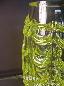 Rare Seguso Glass Vintage F Poli Uranium Fenicio Vaseline Vase Murano Eames Era