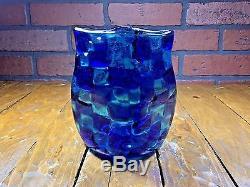 Rare Vintage 1950's Venini Murano Italia Thick Heavy Glass Vase 2.5 Lbs 6'' Tall