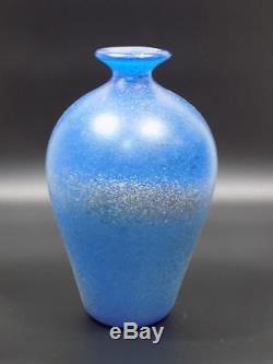 Rare Vintage Designer Vase Murano Cenedese Glas Scavo Blau Art Glass 20. Jhd
