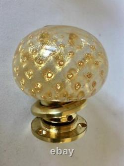 Rare Vintage Handmade Murano Art Glass Round Door Knob Set