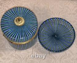Rare Vintage Mottahedeh Murano Blue Green Striped Glass Lidded Casket Box & Dish