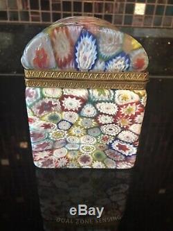 Rare Vtg Murano Glass Fratelli Toso Millefiori Trinket Box Casket
