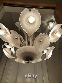 Rare XL Vintage Vetreria Murano Glass Sculptural Chandelier AMAZING Gold & White