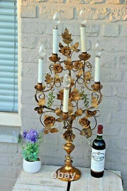 Rare XXL Antique church Altar candelabra Lamp murano glass grapes