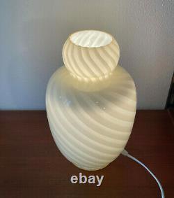 Rare lovely yellow table lamp swirl Murano glass lampada vintage 70 U