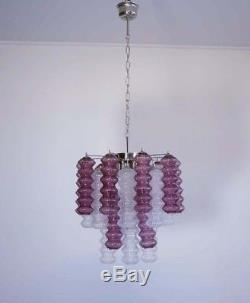 Rare top quality Murano Vintage chandelier trasparent and purple glass
