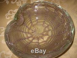 SALE! Vtg. MURANO SPIDER WEB BOWL/ASHTRAY Pale Lavender, Gold Aventurine, 6.5