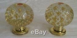 SET of 2 VINTAGE MURANO ITALIAN GLASS GOLD BUBBLE DOORKNOBS BEAUTIFUL NOS