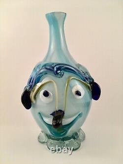 SO UNUSUAL! Vintage Italy Italian Murano Face Vase (Dog) Blown Glass Handmade