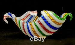 STUNNING! LATTICINO Vintage MURANO Art Glass SALVIATI TOSO Zanfirico Dish Bowl