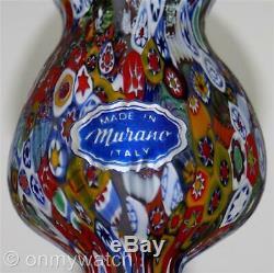 STUNNING Vtg 1960s MURANO Venetian Vase MILLEFIORI Italian ArT GLaSs Italy