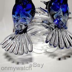 STUNNING Vtg RENATO ANATRA Blue Birds SIGNED Murano Italian ArT GLaSs Italy
