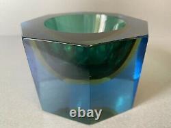 SUPERB Vintage Murano Sommerso Blue Amber Green Octagonal Glass Bowl Flavio Poli