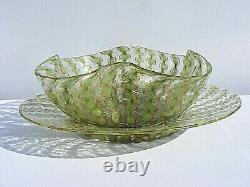 Salviati Venetian Murano Finger Bowl And Plate Vintage