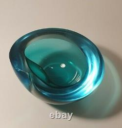 Seguso Murano Sommerso Blue & Green Round Geode Bowl Art Glass Vintage 60s