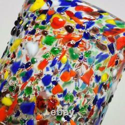 Set Of 5 Vintage Goto Murano, Murrisa, Multi-colored Glass Tumblers