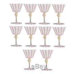 Set of 10 Vintage Venetian Glass Goblets Latticino Wine Water Stem