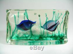 Stor Vintage Venetian Salviati Murano Aquarium glass block Glas Etikett