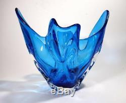 Striking Vintage Italian Murano Blue Art Glass Bowl / Vase