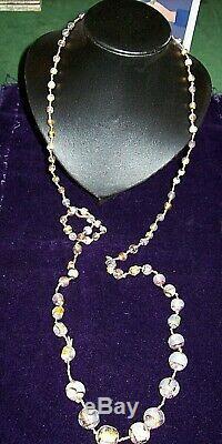 Stunning Antique/Vintage Venetian, Murano, Opal Fire Foil Glass Beaded Necklace