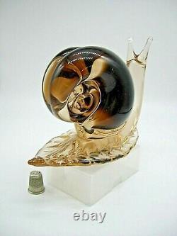 Stunning HUGE 8 Vintage Murano V Nason label sommerso glass snail 1950-60 HEAVY