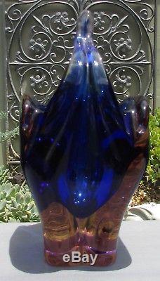 Stunning Heavy Vintage Murano Art Glass Basket Vase Cobalt Blue & Pink