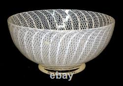 Stunning! LATTICINO Vintage MURANO Footed Bowl ART GLASS Barovier Zanfirico Toso