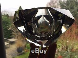 Stunning Large Vintage Murano Sommerso Ashtray Bowl in Graphite and Clear Glass