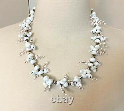 Stunning Rare Antique Murano White Glass Birds Necklace