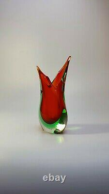 Stunning Vintage 60s Italian Murano Art Glass Fishtail Vase Rich Red Sommerso