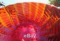 Stunning Vintage Fine Murano Art Glass Large Comport Red Ruby