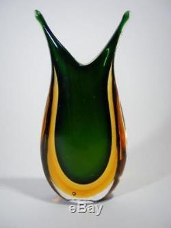 Stunning Vintage Italian Murano Art Glass Fishtail Vase Sommerso