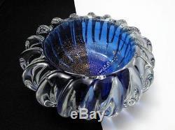 Stunning Vintage Italian Murano Cobalt Blue Gold Aventurine Art Glass Bowl