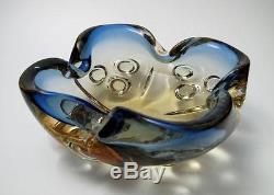 Stunning Vintage Italian Murano Yellow & Blue Cased Art Glass Bowl MID Century