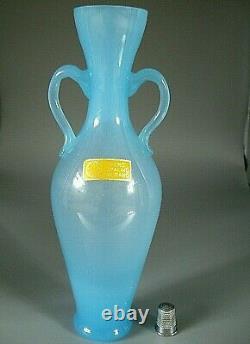 Stunning Vintage MURANO Nason & Moretti label opalescent glass amphora vase 23cm